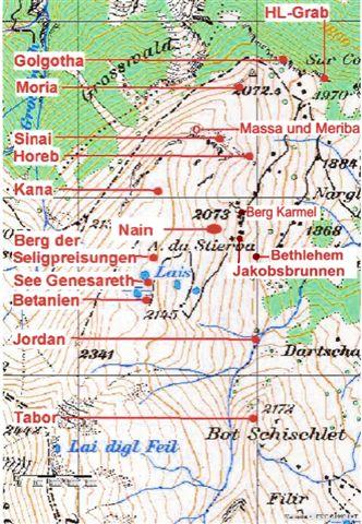 """Skizze des """"Heiligen Landes"""" auf der Alp da Stierva"""